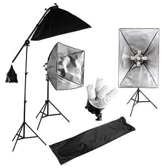 MVPower®Kit d'éclairage professionnel Photo Studio Softbox Eclairage 15x 45W Continu 5 tête Lumière Boom Arm