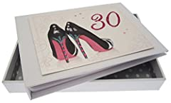 Idea Regalo - Cotone Bianco Carte Souvenir Album 30th Anniversary Album Motif Piccolo 2 Scarpe