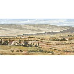 Artland Qualitätsbilder I Glasbilder Deko Bilder A. Heins Toskanisches Tal I Landschaften Europa Italien Malerei Creme 50 x 100 x 1,1 cm A6BX