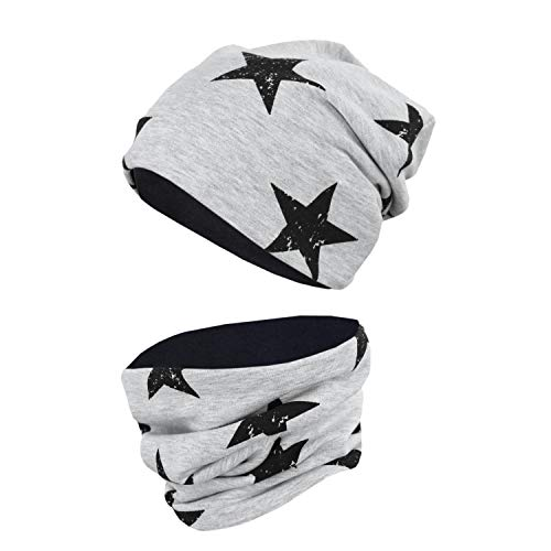 TupTam Unisex Kinder Beanie Mütze Schlauchschal Set, Farbe: Sterne Schwarz/Grau Meliert, Größe: 50-52 cm