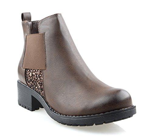 AgooLar Damen Ziehen auf Rund Zehe PU Mitte-Spitze Stiefel mit Metall Nägel, Schwarz, 34