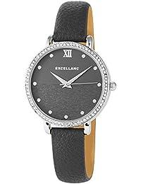 Trend de Wares de mujer reloj de pulsera Gris plata brillantes analógico de cuarzo metal piel mujer reloj