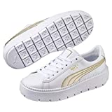 PUMA Platform Trace Varsity Damen Sneaker Puma White-Metallic Gold 8.5