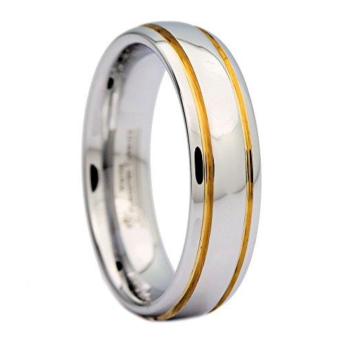 Mj metals jewelry - fede nuziale in carburo di tungsteno bianco lucido, 6 mm, 2 strisce dorate e tungsteno, 28,5, cod. wtg-201_12.5