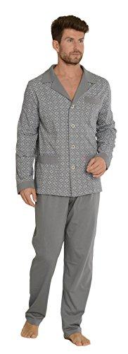 FOREX Lingerie edler Herren-Pyjama aus 100% Baumwolle Schlafanzug Hausanzug im tollen Design, grau, Gr. XXL