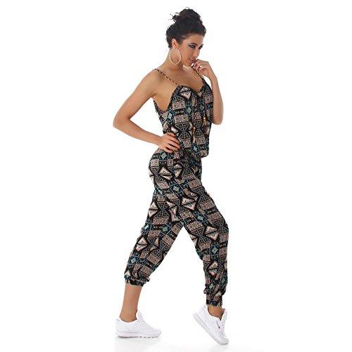 Jela London Damen Jumpsuit Overall Hosenanzug Einteiler Gemustert Einheitsgröße (36 - 40) Türkis 001