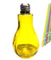 Saisha Yellow Color Bulb Shape Stylish Food Grade Quality Glass Bar Cocktail Jars with Re-Usable Hard Shape Straw (300ml)-Set of 1