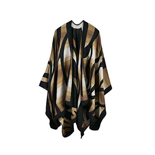 Beatayang Écharpe Poncho Cape frangée manteau automne hiver Pull d'hiver chaud pour femmes Café