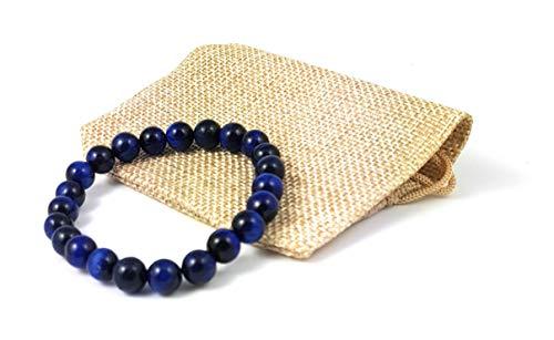 Garaulion Bracelet Pierre Homme,Bracelet Perle Femme Protection, Bracelet Oeil de Tigre Bleu + Pochette Gratuite (8.0mm), Marque Francaise, [Satisfait ou remboursé sous 30 Jours]