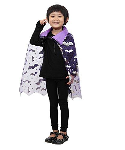 (Seruna De12 Fledermaus Umhang in lila - für Kinder und Erwachsene! Halloweenkostüm für Halloween Spaß! Einheitsgröße sowohl für Kinder ab Gr. 92 als auch Erwachsene bis Gr. M)