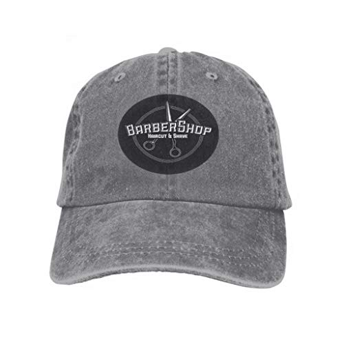 Men Women Classic Denim Adjustable Baseball Cap Hair Salon Labels Vintage Style Hair Cut Beauty Barber Shop Gray Angel Classic Denim
