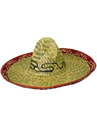 Mexican red & black Poncho Sombrero Straw Large Hat and Gringo Bandit Tash Set (Sombrero Straw hat Only)