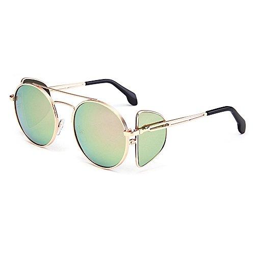Polarisierte Sonnenbrille Winddicht Persönlichkeit Punk Stil Sonnenbrille für Frauen Männer Metallrahmen umrandeten Sonnenbrille Runde klassische Unisex Sonnenbrille UV-Schutz Sonnenbrille Sonnenbrill