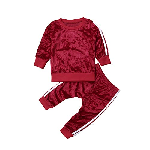Minasan Mädchen Kinder Kleidung Set Rote Langarm Jogginganzug Samtstoff Sport Freizeitset für Baby Jungen