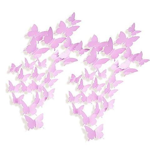 Mudder 24 Pieces 3D Art Butterfly Decal Wall Sticker Home Decor Room Decoration, Pink