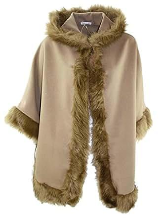 #969 Damen Cape Parka Wolle mit Fellkragen Kapuze Mantel Poncho Umhang (Hellbraun)