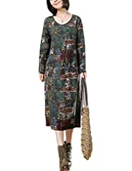 Vogstyle Femme Pull Cardigan Vintage Manches Longues Ample en Coton/Lin