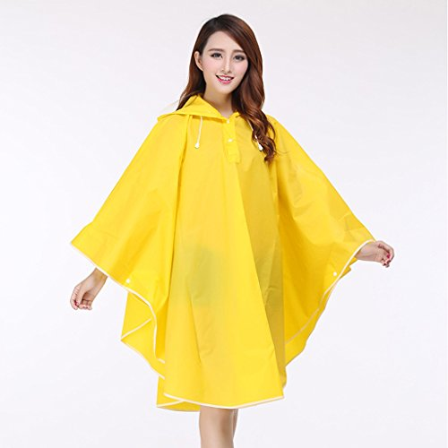 Imperméable de mode pliant portatif poncho de cyclisme de dames imperméable long de cape ( Color : Black ) Yellow
