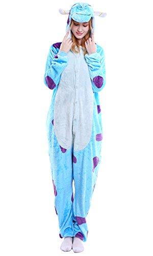 Dolamen Adulto Unisexo Onesies Kigurumi Pijamas, Mujer Hombres Traje Disfraz Animal Pyjamas, Ropa de Dormir Halloween Cosplay Navidad Animales de Vestuario (X-Large (68.8 '-72.8'), Sullivan)