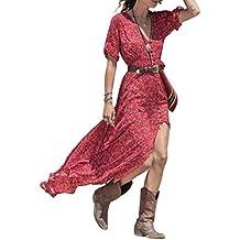 Vestido ,Las Mujeres De Verano Bohemio De Gasa Floral Playa Largo Vestido