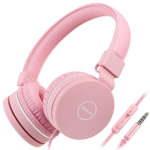 BANNAB PICUN Kids Kopfhörer,Noise Reduction School Wired Kopfhörer, Leichtgewicht Faltbare Stereo Tangle-frei 3,5mm für Kinder, Jungen, Mädchen,Pink