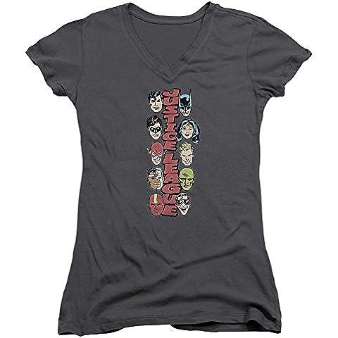 Dc-T-Shirt da donna con collo a V, motivo: pila di giustizia