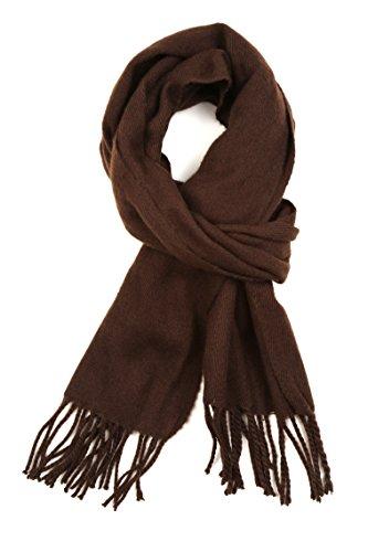 Sakkas 1590 -Booker Kaschmir fühlen feste farbige Unisex Winter-Schal mit Fransen - Schokolade - One Size Regular