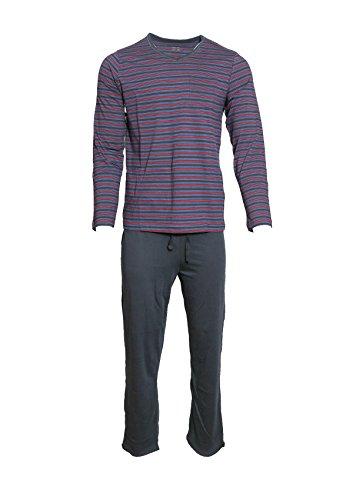 Herren Schlafanzug Pullover + Hose lang Pyjama blau gestreift M L XL XXL *275864 (L 52 54) (Pyjama Gestreiften Set Baumwolle)