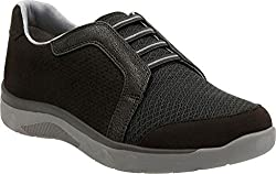 Clarks Womens McKella Morris Sneaker, Black Synthetic Nubuck, US 6 M