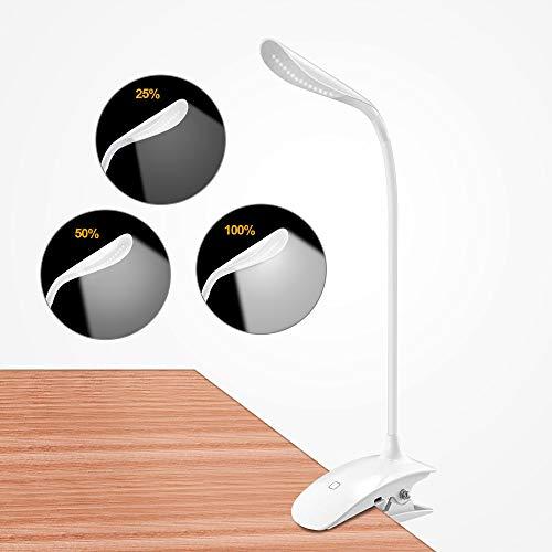 Leselampe Klemme, omitium LED Klemmleuchte mit Berührungssensor, Stufenlose Helligkeit, 3 Stufen Farbtemperatur, Schreibtischlampe, Buchlampe, USB aufladbare Klemmlampe zum Studieren und Arbeiten
