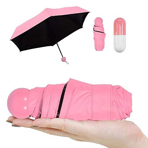 Pawaca Ultra Leggero e Piccolo Anti-UV Mini Pieghevole Ombrello di Viaggio con Creativo Carino Cassa della Capsula, 5 Pieghevoli Compatta Tasca Parasole Ombrello per Donne Ragazze Bambini