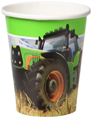 Creative Convertting 8C318055 Trattore-Tractor Time, Mehrfarbig, 266 ml - Traktor-becher