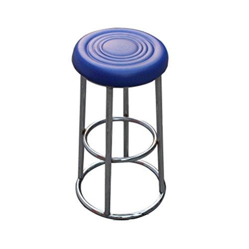 Stool Health UK Hocker Büro Loft Retro Runde Rote Eisen Rahmen Sitz Kreative Sofa Bar Stuhl Cafe Shop Dekorative Hohe Hocker Ohne Rückenlehne 60 cm Welcome (Farbe : Blau)