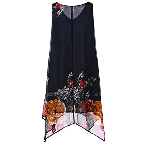 JUTOO Frauen Plus Size Bluwomendruck Chiffon Sleeveless Minikleid (Dior T-shirt Herren)