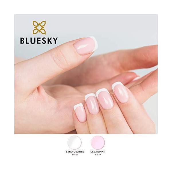 Gel Bluesky polaco Kit de manicura francesa, Estudio Blanco/Claramente Rosa