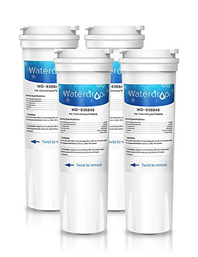 Waterdrop 836848 Kühlschrank WasserFilter Ersatz für Fisher & Paykel 836848, 836860, E404BRXFDU, E522BRXFDU; Amana / Maytag / Admiral Clean 'n Clear 67003662, RO185014, RO185011, WF60, C2 (4) -