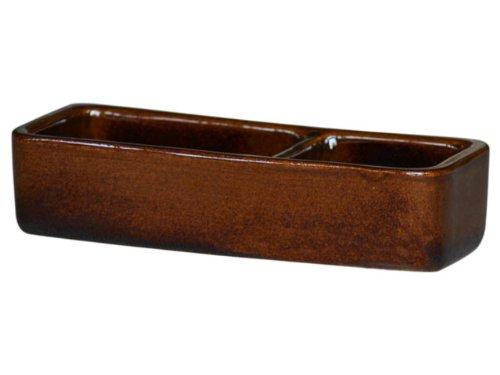 K&K Futternapf eckig geteilt für Futter + Wasser braun 25x10x6cm aus schwerer Steinzeug-Keramik