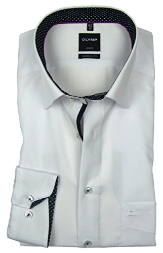 OLYMP Luxor Modern Fit Hemd Langarm Under Button Down Kragen Weiß Weiß