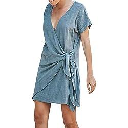AIni Robe Ete Femme Longue Boheme Couleur Unie Col en V Chic Courte Manche Casual Tous Les Jours Vacances VêTements Robes De Plage Chemise (S,Bleu Clair)