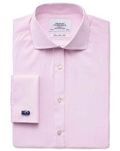 Extra Slim Fit Hemd aus Fil-à-Fil mit Haifischkragen in rosa rosa (Knopfmanschetten Cuff)
