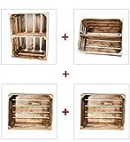 Holzkisten Mix - Geflammte Obstkisten und Apfelkisten (4er Set)