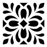 Artemio 15075005 Pochoir Home Déco - Carreau Ciment Feuilles, Plastique, Noir, 17,5 x 0,2 x 21,5 cm