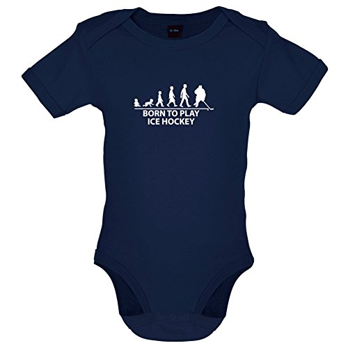 Born to Play Ice Hockey - Lustiger Baby-Body - Marineblau - 0 bis 3 Monate