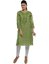 Lucknow Chikan Hand Embroidered Casual Wear Cotton Kurta Kurti By ADA A111319