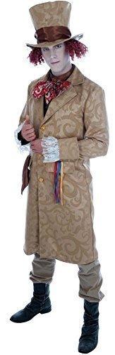 ian Viktorianisch Verrückter Hutmacher Alice im Wunderland Büchertag Kostüm Kleid Outfit M-XL - Braun, Large (Verrückter Hutmacher Herren Kostüme)