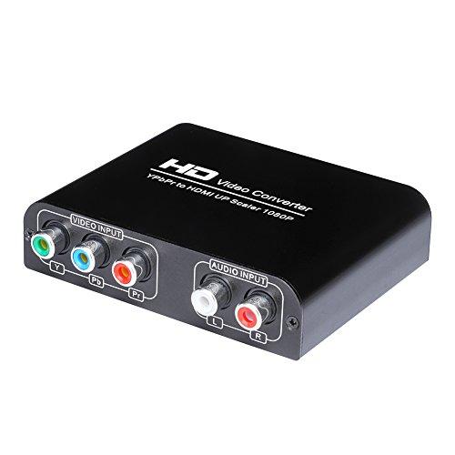 Scaler 1080P Full HD YPbPr Component Video und Stereo Audio R/L auf HDMI Konverter Upscale Adapter für DVD - Player, Olde Kamera, PSP, Xbox und WII Etc (Hdmi-video-kameras)