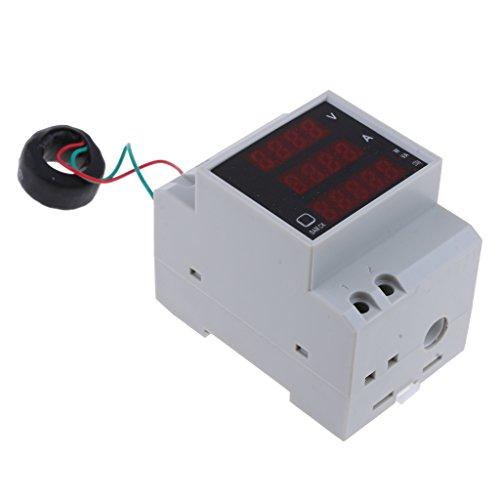 D DOLITY Medidor Trifásico Voltímetro CA Amperímetro Medidor Eléctrico Carril DIN Medidor de Energía - Blanco-200-450v