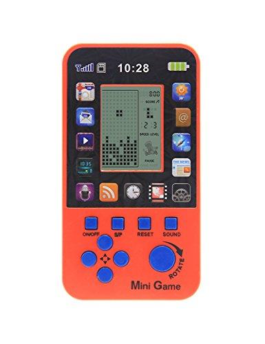 Nuevo Apple Skin Kids Consola para Niños Juguetes Retro Tetris Game Console Clásico Inteligente Juguetes Handheld Incorporado 23 juegos (Orange)