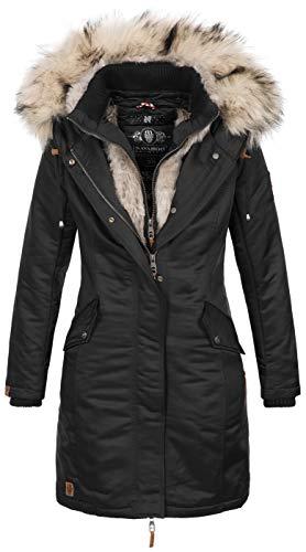 Navahoo Damen Winter Jacke Parka Mantel Winterjacke warm Kunstfell Premium B664 [B664-Day-Schwarz-Gr.M]