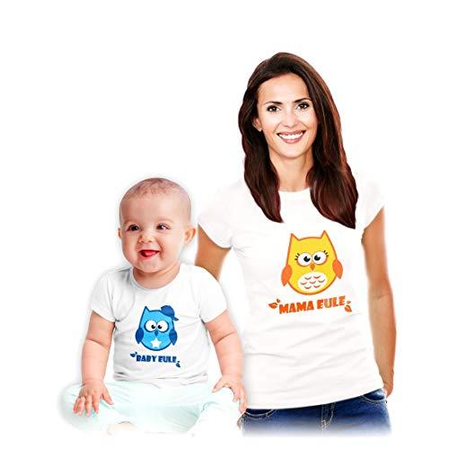 Geschenkidee zum Muttertag - Baby Mama Set Muttertags T-Shirts mit Eulen Mama Weiß Medium/Boy Weiß 18-24 Monate / ()